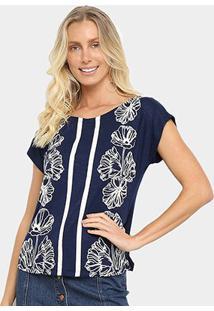 Blusa Mercatto Flores Listras Feminina - Feminino-Azul Escuro