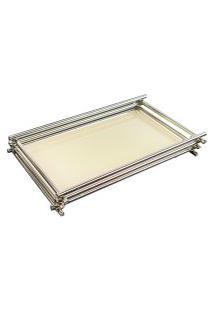 Bandeja Espelhada Nude Vanilla Decorativa Em Metal Cromado 10X20Cm
