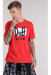 "Camiseta ""Duff Beer"" Os Simpsons Vermelha"