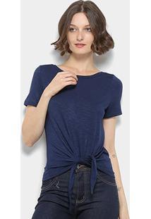 Blusa Mercatto Amarração Feminina - Feminino-Azul Escuro