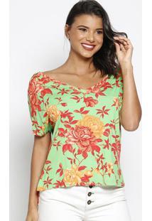 Blusa Floral Com Fendas - Verde & Vermelha - Thiptonthipton