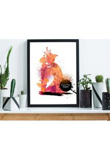 Quadro Decorativo Com Moldura Mã£E Aquarela Preto - 30X40Cm - Multicolorido - Dafiti