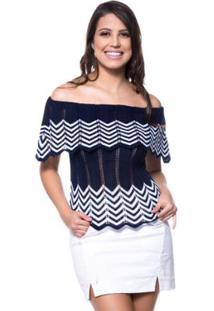 Blusa Ciganinha Bicolor Eliza Tricot - Feminino-Marinho+Branco