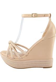 Sandália Salto Alto Week Shoes Anabela Espadrille Nude