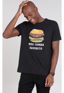 """Camiseta Masculina """"Meu Combo Favorito"""" Manga Curta Gola Careca Preta"""