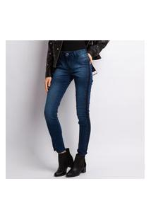 Calça Feminina Jeans Skinny Lavagem Escura Bolso Falso Jeans