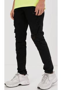 Calça Jeans Skinny Super Destroyed