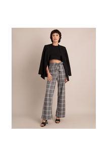 Calça Pantalona De Jacquard Estampada Xadrez Cintura Super Alta Com Amarração Cinza