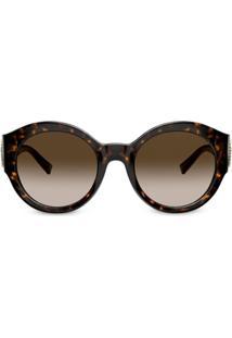 Versace Eyewear Óculos De Sol Redondo Com Efeito Tartaruga - Marrom
