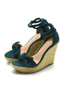 Sandália Anabela Com Laço Em Camurça Verde Musgo Confort