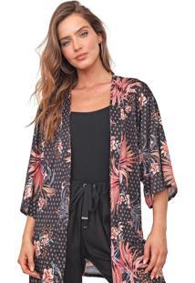 Kimono Mercatto Floral Preto