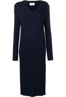 Ami Paris Vestido Longo Com Decote Em V - Azul