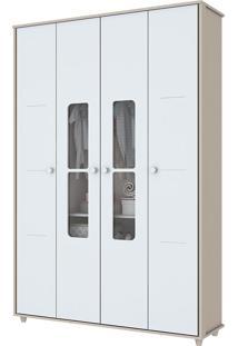 Guarda Roupa Infantil Com 4 Portas De Bater Aquarela-Henn - Branco / Cristal
