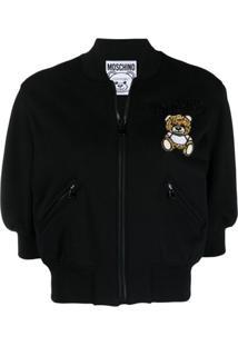 Moschino Jaqueta Bomber Cropped Teddy Bear - Preto