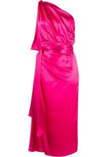 Dolce & Gabbana Vestido Ombro Único De Seda - Rosa