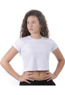 Cropped Camiseta 100% AlgodãO Branco - Branco - Feminino - Algodã£O - Dafiti