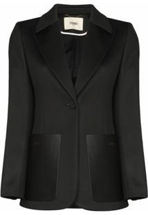 Fendi Blazer Com Listras E Logo Ff - Preto