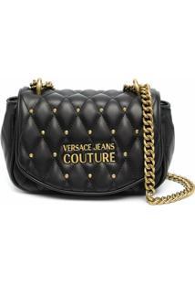 Versace Jeans Couture Bolsa Transversal Matelassê Com Placa De Logo - Preto