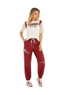 Calça Zinco Comfort Cós Alto Com Recorte Vermelho