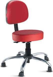 Cadeira Mocho Vermelho Secretária Cromada