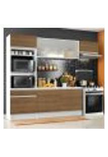 Cozinha Completa Madesa Topazio Com Um Balcão, Armário E Tampo - Branco/Rustic