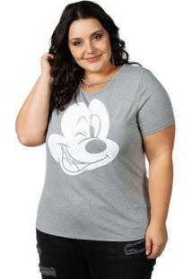 Blusa Com Aplicação No Decote Mescla Disney