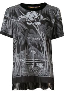 Sacai Blusa Com Estampa De Palmeira - Preto