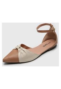 Sapatilha Dafiti Shoes Snake Nude/Off-White