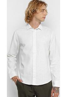 Camisa Colcci Manga Longa Linho Slim Masculina - Masculino-Off White
