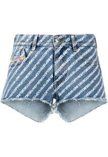 Diesel Short Jeans De-Rifty Com Estampa De Logo - Azul