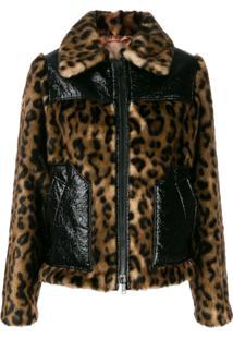 Nº21 Leopard Print Paneled Jacket - Marrom