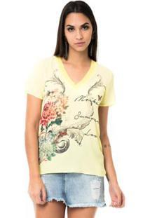 T-Shirt Moikana Gola V De Tricô Feminina - Feminino-Amarelo