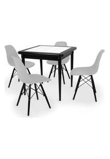 Conjunto Mesa De Jantar Em Madeira Preto Prime Com Azulejo + 4 Cadeiras Eames Eiffel - Cinza