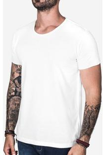 Camiseta Básica Hermoso Compadre Gola Rasgada Masculina - Masculino-Off White