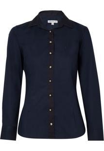 Camisa Ml Feminina Tricoline Stretch (Azul Escuro, 46)