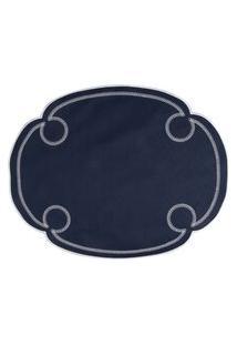 Jogo Americano Oval Argola Tela - Azul