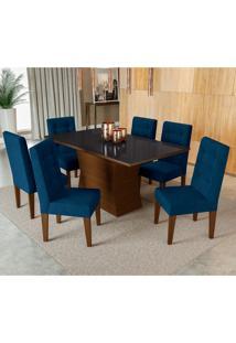 Conjunto De Mesa De Jantar Com 6 Cadeiras Strauss I Suede Azul E Preto