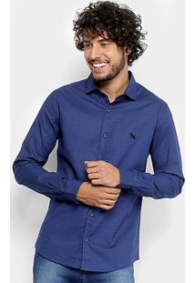 Camisa Acostamento Full Print Manga Longa Masculina - Masculino-Azul