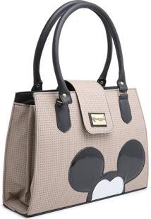 Bolsa Mickey Mouse Compacta Alça Dupla Mão Bege