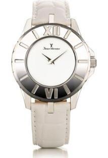 Relógio Jean Vernier Pulseira Couro Vidro Cristal Feminino - Feminino-Branco