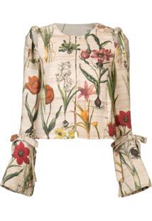 Oscar De La Renta Jaqueta Floral Cropped - Neutro
