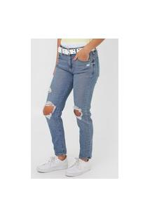 Calça Jeans Gap Girlfriend Estonada Azul