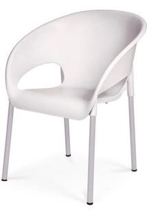 Cadeira Dublin Em Polipropileno Branco Com Pes Aluminio - 48002 - Sun House