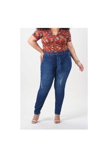 Kaue Plus Size Calça Skinny Com Faixa E Puído Plus Size Jeans Blue Calça Skinny Com Faixa E Puído Plus Size Jeans Blue 48