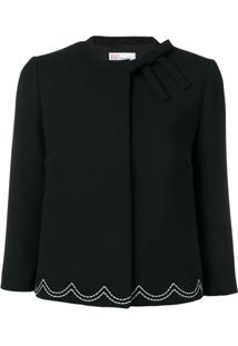 Red Valentino Scallop Stitch Cropped Jacket - Preto