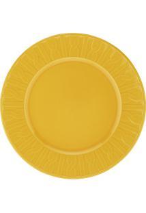 Prato De Sobremesa Em Cerâmica 22Cm Amarelo