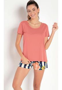 Pijama Curto Com Short Estampadosalmão