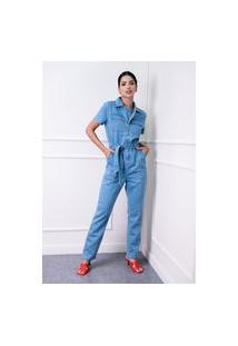 Macacão Longo Sisal Jeans Com Manga Curta Azul