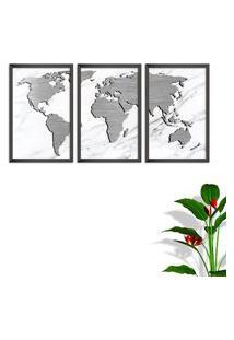 Quadro Oppen House 60X120Cm Mapa Mundi Cinza Moldura Sem Vidro Fundo Branco Altas Países Decorativo Interiores