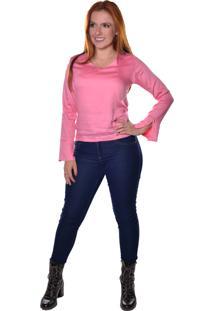 Blusa Carbella Manga Comprida Punho Acerto Rosé